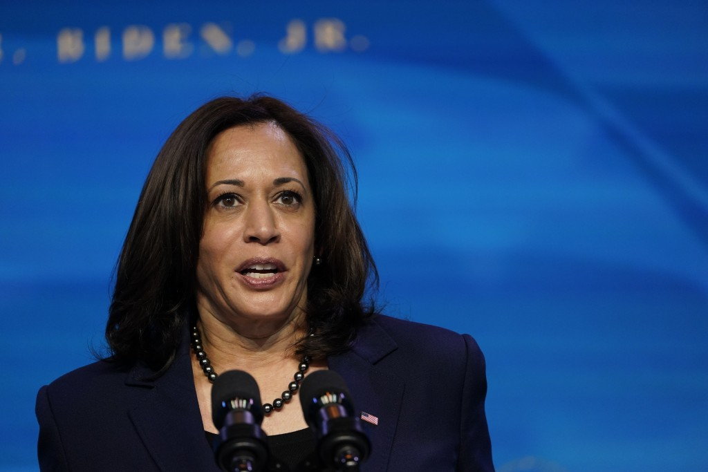 Vice President-elect Kamala Harris speaks during an event at The Queen theater in Wilmington, Del., Friday, Jan. 8, 2021, to announce key administrati...