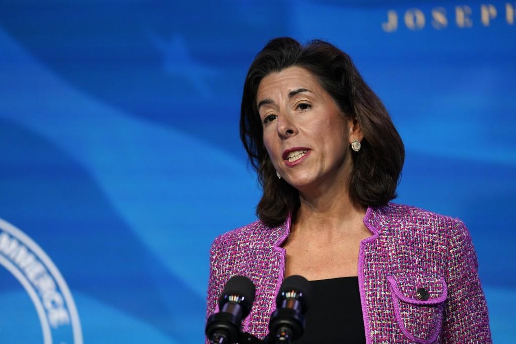 FILE - In this Jan. 8, 2021, file photo President-elect Joe Biden's nominee for Secretary of Commerce, Rhode Island Gov. Gina Raimondo speaks during a...