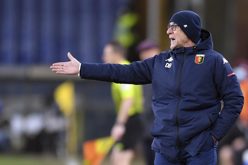 Genoa's coach Davide Ballardini shouts indications to his players during a Serie A soccer match between Genoa and Bologna at the Luigi Ferraris stadiu...