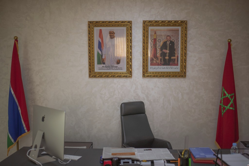 A view inside an office, in the recently opened consulate of The Gambia,  in Dakhla, Western Sahara, Monday, Dec. 21, 2020. U.S. plans to open a consu...