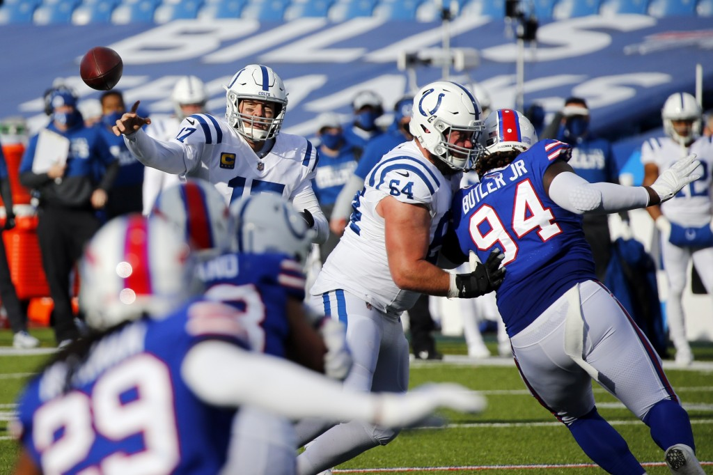 Indianapolis Colts quarterback Philip Rivers (17) throws a pass during the first half of an NFL wild-card playoff football game against the Buffalo Bi...