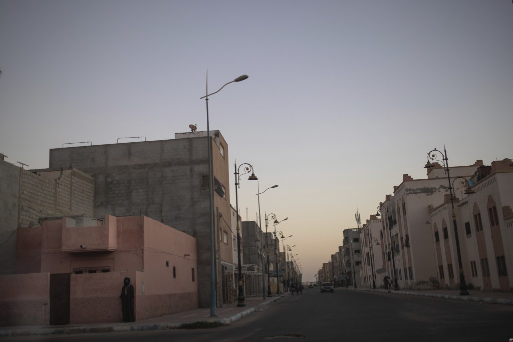 A view of an empty street after sunrise in Dakhla, Western Sahara, Monday, Dec. 21, 2020. U.S. plans to open a consulate in Western Sahara mark a turn...