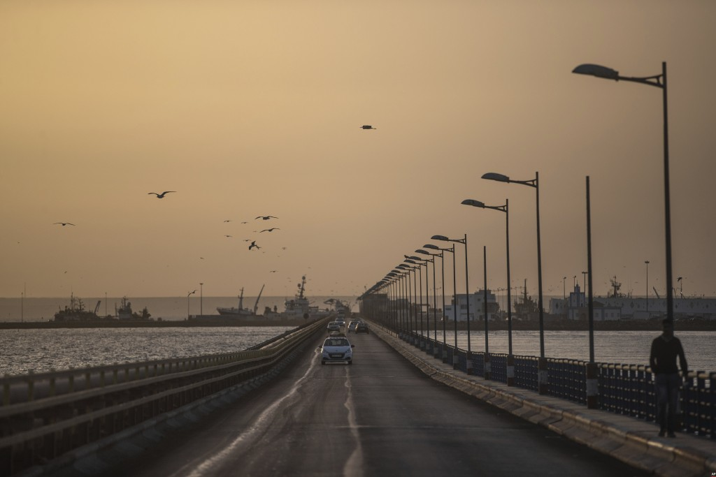 A view of the road leading to the fishing port in Dakhla, Western Sahara, Monday, Dec. 21, 2020. U.S. plans to open a consulate in Western Sahara mark...