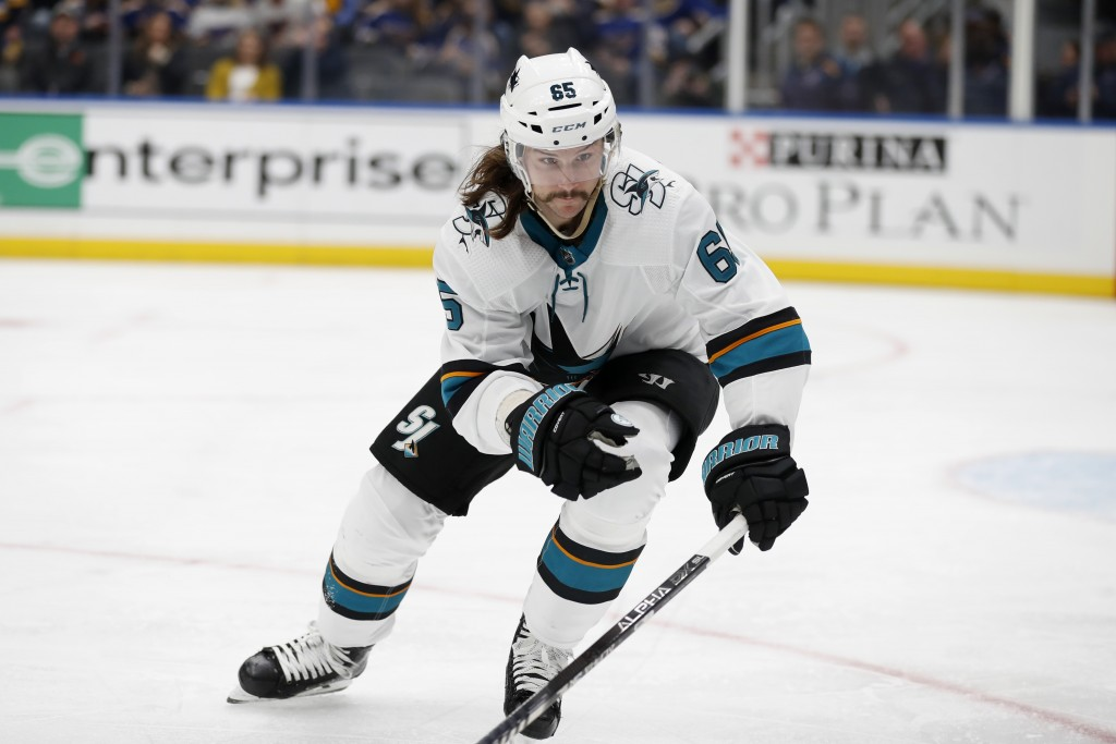 FILE - In this Tuesday, Jan. 7, 2020, file photo, San Jose Sharks' Erik Karlsson, of Sweden, skates during the second period of an NHL hockey game aga...