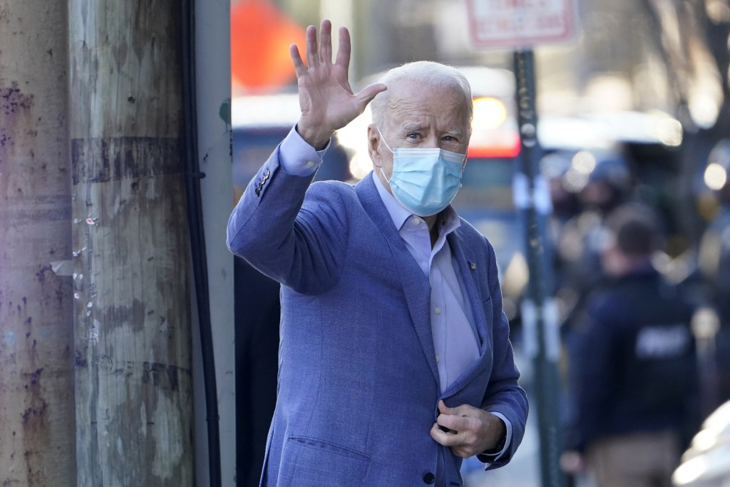 President-elect Joe Biden arrives at The Queen Theater in Wilmington, Del., Sunday, Jan. 10, 2021. (AP Photo/Susan Walsh)
