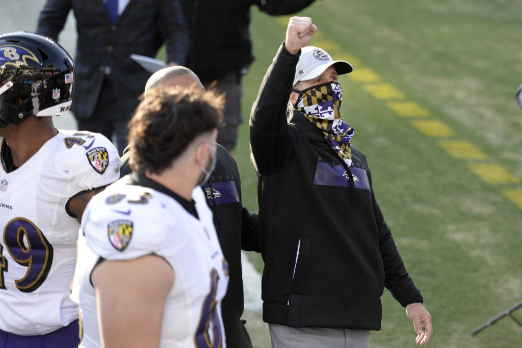 Baltimore Ravens head coach John Harbaugh celebrates after the Ravens beat the Tennessee Titans in an NFL wild-card playoff football game Sunday, Jan....