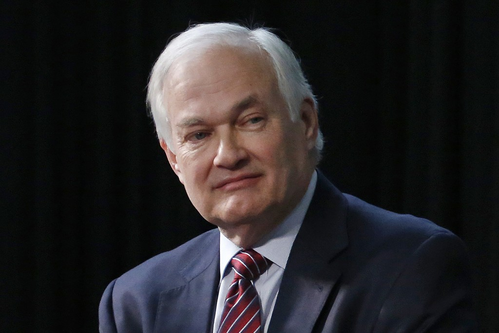 FILE - In this Jan. 24, 2015, file photo, NHL Players' Association Executive Director Donald Fehr listens during a press conference in Columbus, Ohio....