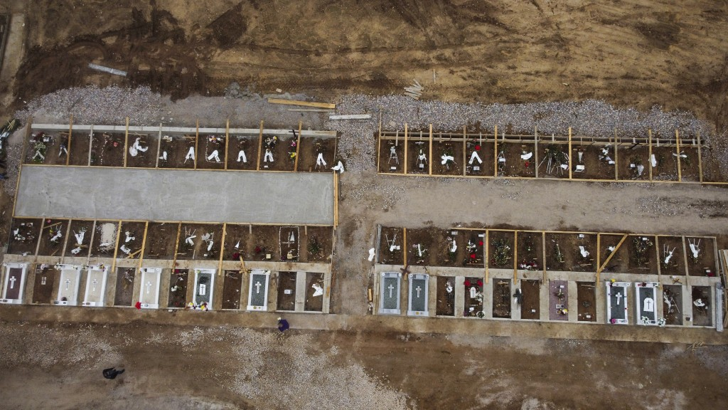 An aerial view of graves in a cemetery set up for victims of COVID-19, in the northern city of Thessaloniki, Greece, Saturday, Dec. 26, 2020. In Greec...
