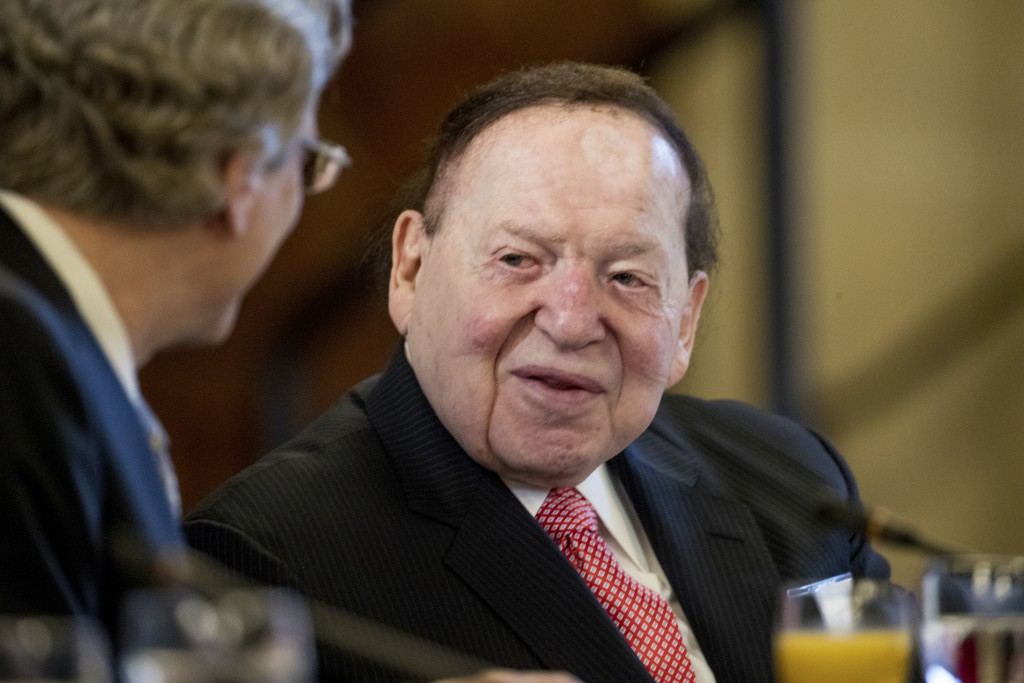 FILE - This Feb. 10, 2017 file photo, Chief Executive of Las Vegas Sands Corporation Sheldon Adelson shows at a business roundtable with Japanese Prim...