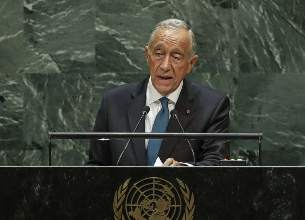 FILE - In this file photo dated Tuesday, Sept. 24, 2019, Portugal's President Marcelo Rebelo de Sousa addresses the 74th session of the United Nations...