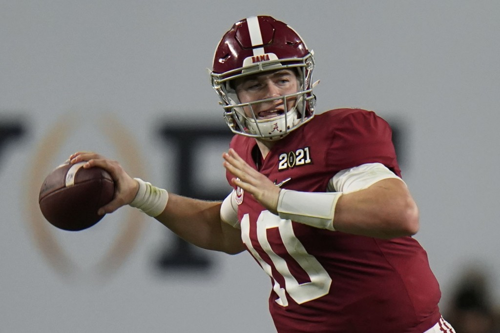 Alabama quarterback Mac Jones passes against Ohio State during the second half of an NCAA College Football Playoff national championship game, Monday,...