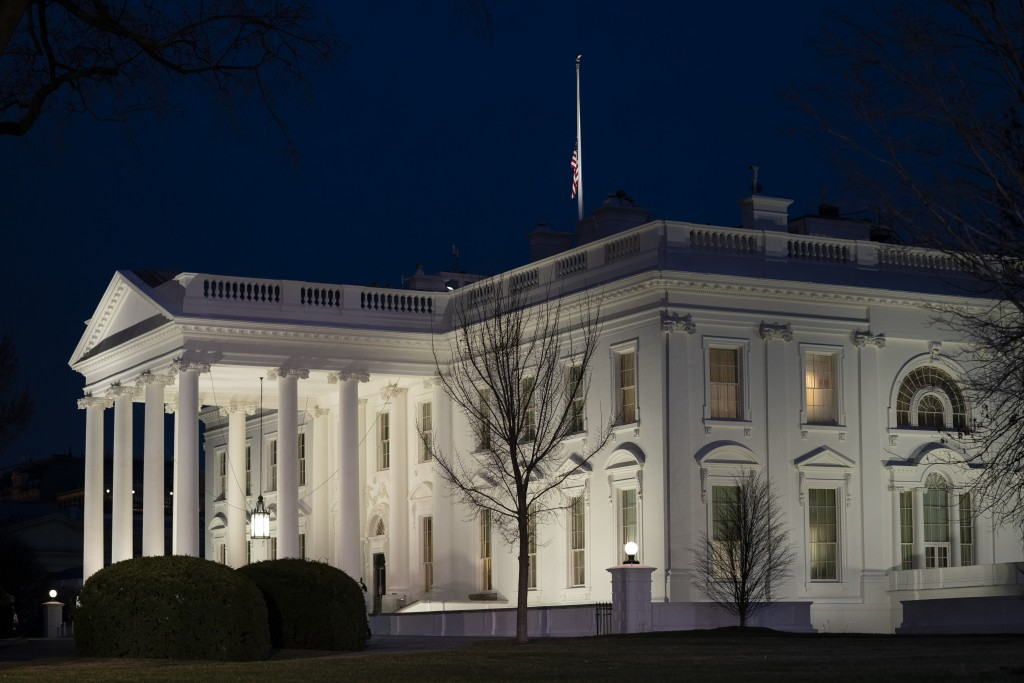 A view of the White House, Monday, Jan. 11, 2021, in Washington. (AP Photo/Evan Vucci)