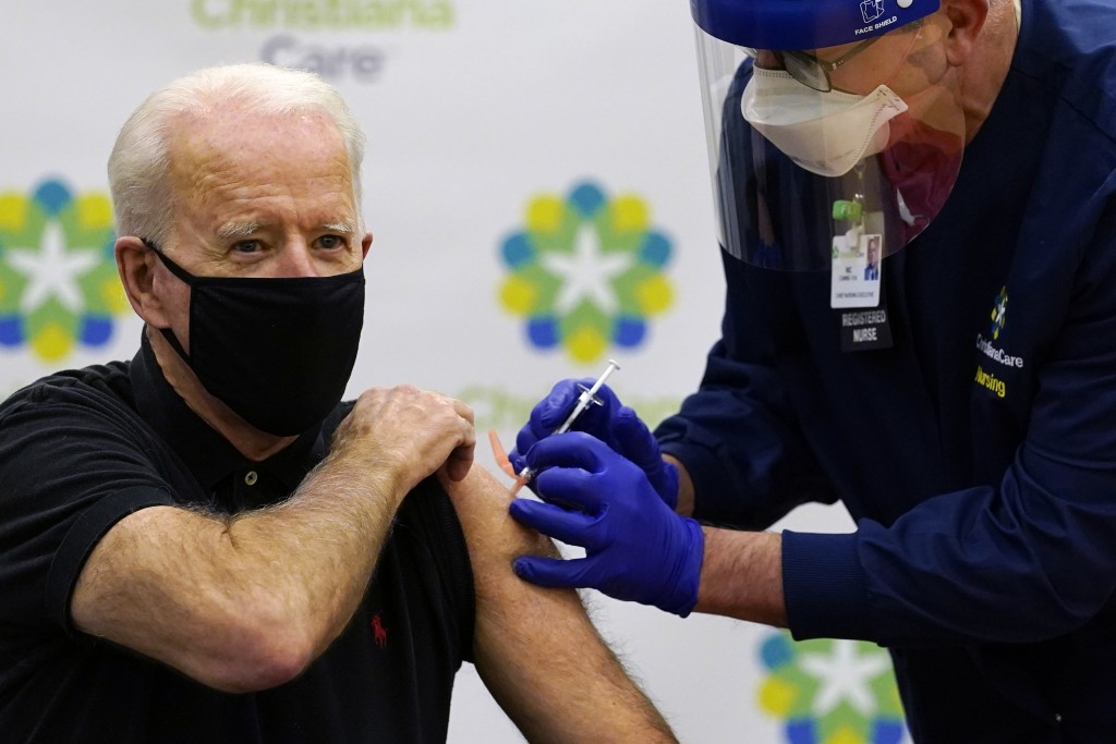 President-elect Joe Biden receives his second dose of the coronavirus vaccine at ChristianaCare Christiana Hospital in Newark, Del., Monday, Jan. 11, ...