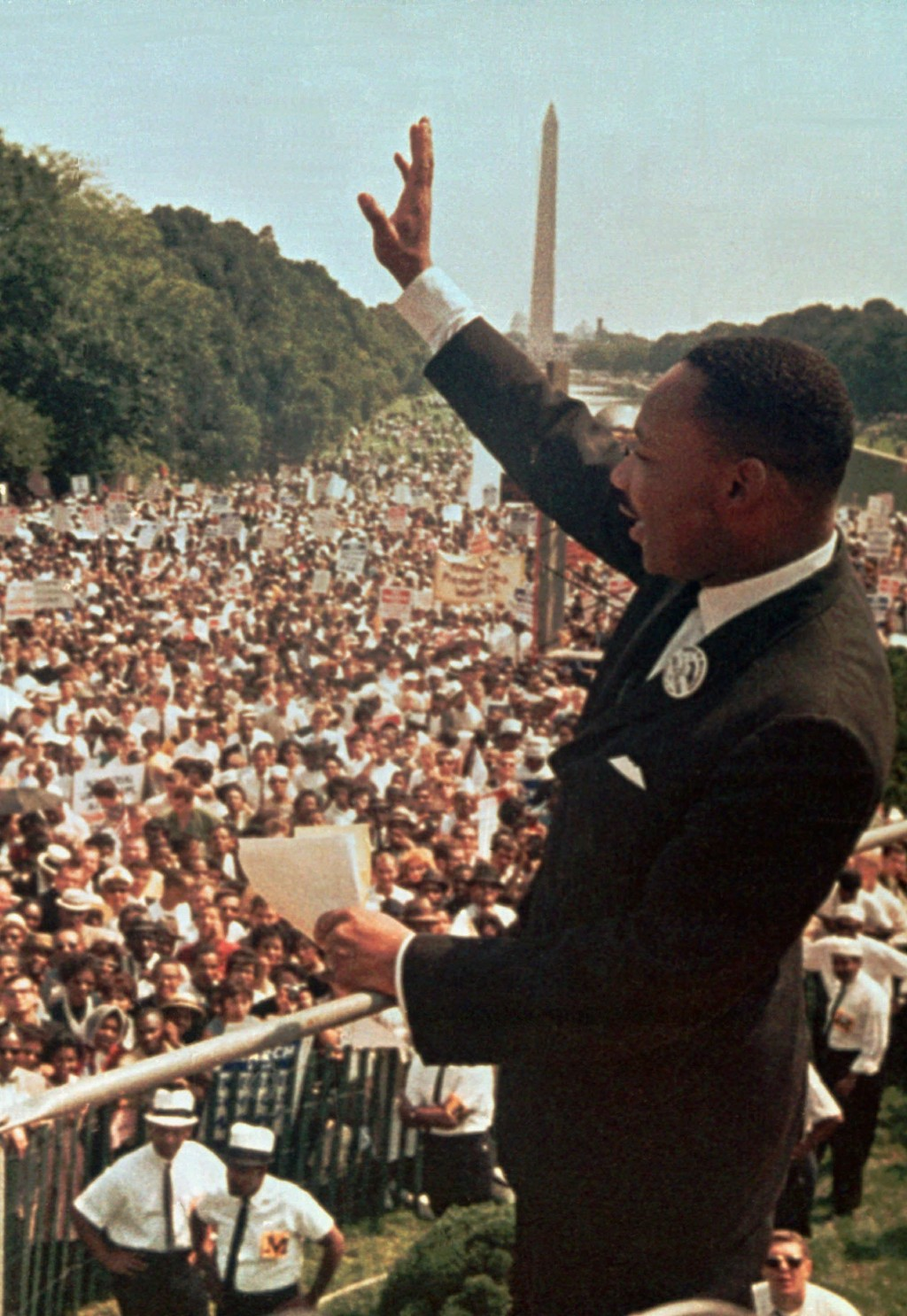 "FILE - Dr. Martin Luther King Jr. acknowledges the crowd at the Lincoln Memorial for his ""I Have a Dream"" speech during the March on Washington, D.C. ..."