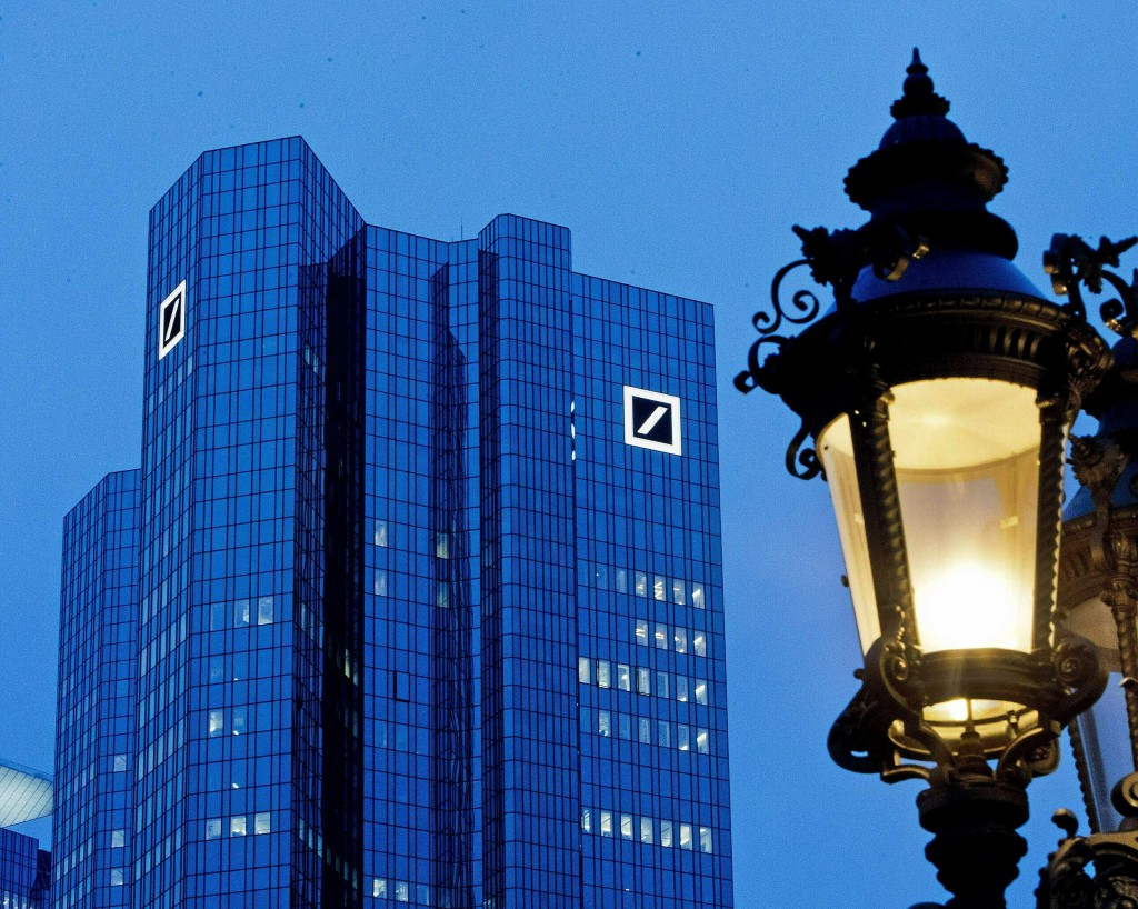 FILE - This Feb. 1, 2019, file photo shows the Deutsche Bank headquarters in Frankfurt, Germany. In light of the violent and deadly riot at the U.S. C...