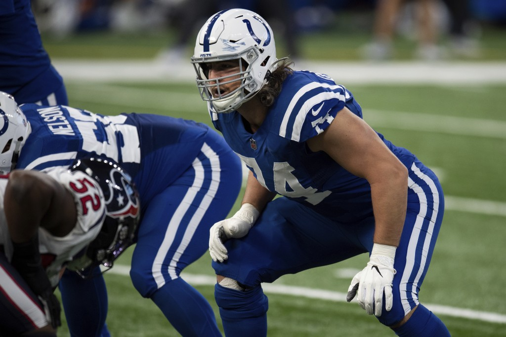 Indianapolis Colts tackle Anthony Castonzo (74) gets ready for the snap during an NFL football game against the Houston Texans on Sunday, Dec. 20, 202...