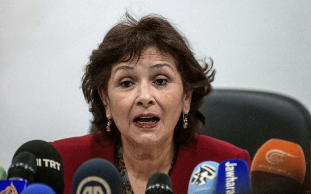 FILE - In this Monday Nov. 14, 2016 file photo, the president of the Truth and Dignity Commission, Sihem Bensedrine addresses the media during a press...