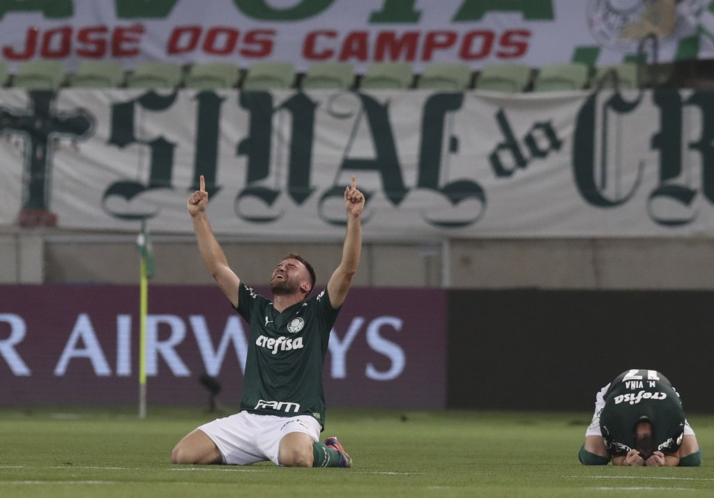 Alan Empereur of Brazil's Palmeiras celebrates at the end of a Copa Libertadores semifinal second leg soccer match against Argentina's River Plate at ...