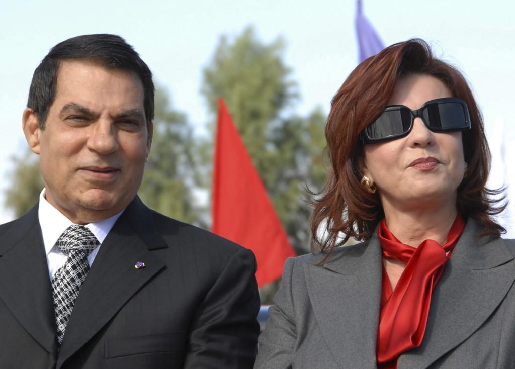 FILE - In this Nov. 7, 2007 file photo, Tunisian President Zine EL Abidine Ben Ali and his wife Leila mark the 20th anniversary of Ben Ali's presidenc...