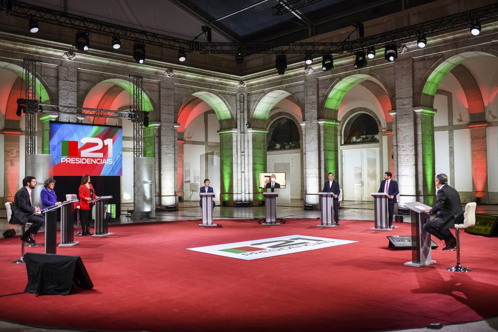 Portuguese President Marcelo Rebelo de Sousa, who is seeking a second term in the country's presidential election on Jan. 24, participates through vid...