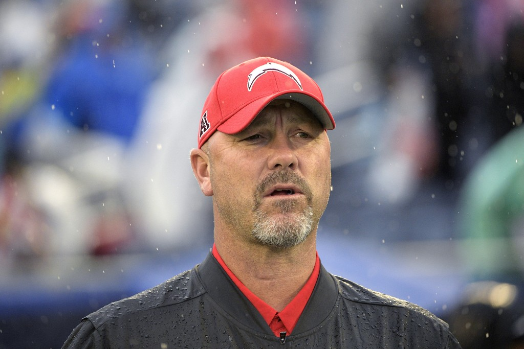 FILE - AFC defensive coordinator Gus Bradley, of the Los Angeles Chargers, watches during the first half of the NFL Pro Bowl football game against the...