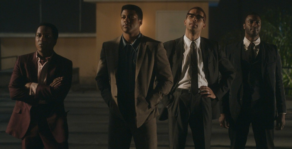 "This image released by Amazon Studios shows Leslie Odom Jr., from left, Eli Goree, Kingsley Ben-Adir and Aldis Hodge in a scene from ""One Night in Mia..."