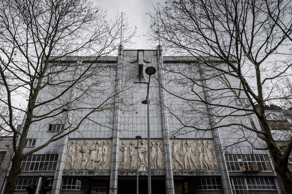 The main facade of the school Athenee Leonie de Waha is seen in Liege, Belgium, Tuesday, Jan. 12, 2021. Fed up with the COVID-19 restrictions keeping ...
