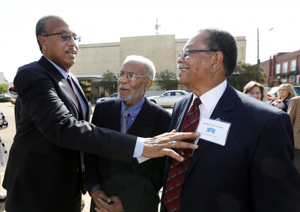 """FILE - In this Aug. 17, 2017 file photo Albert Lassiter, left, Meredith C. Anding Jr., center, and Alfred Lee Cook, all members of the """"Tougaloo Nine""""..."""