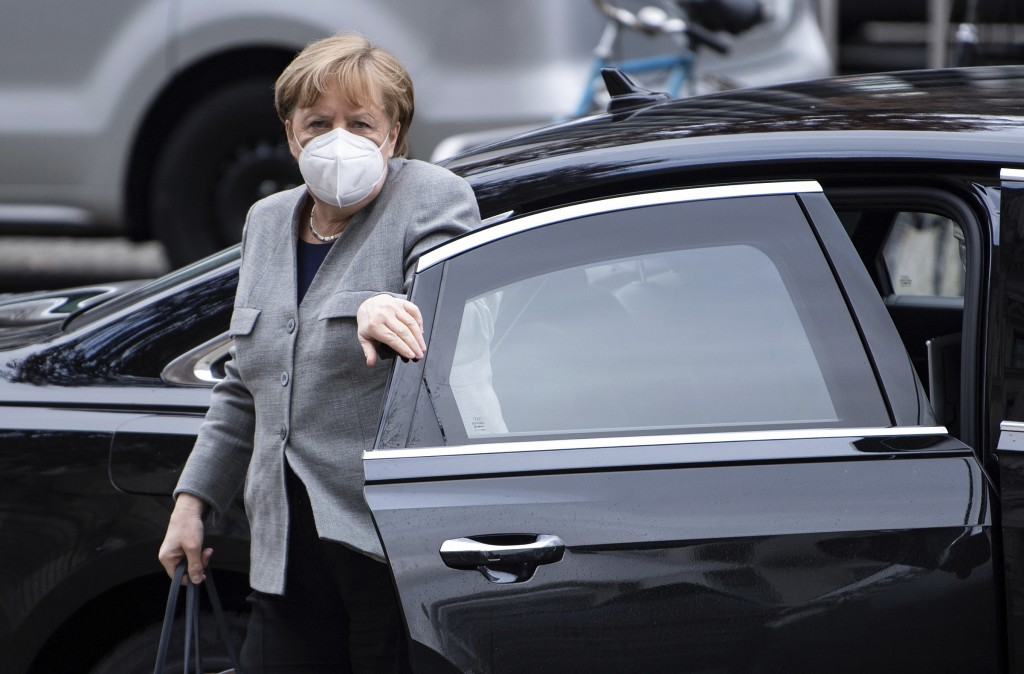 German Chancellor Angela Merke arrives for the plenary session on the current developments of the coronavirus pandemic in Germany, at the parliament B...