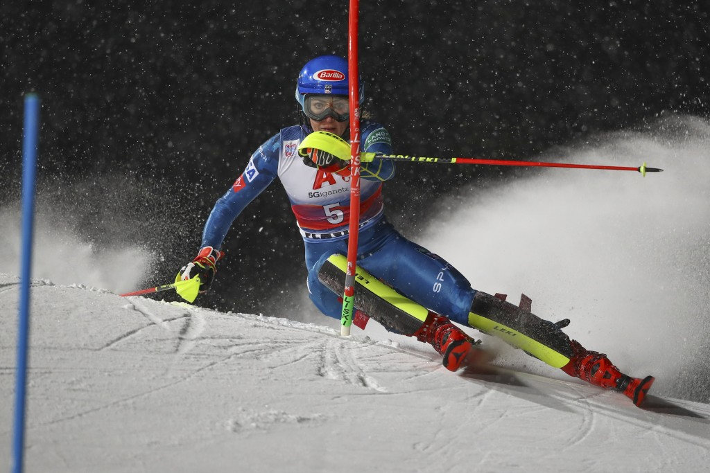United States' Mikaela Shiffrin speeds down the course during the first run on an alpine ski, women's World Cup slalom, in Flachau, Austria, Tuesday, ...