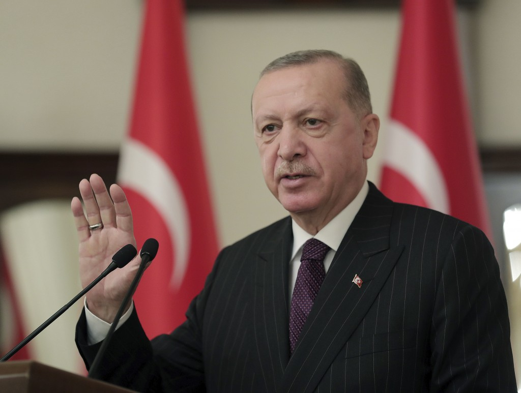 Turkey's President Recep Tayyip Erdogan addresses ambassadors of EU nation, in Ankara, Turkey, Tuesday, Jan. 12, 2021. Erdogan said Tuesday his countr...