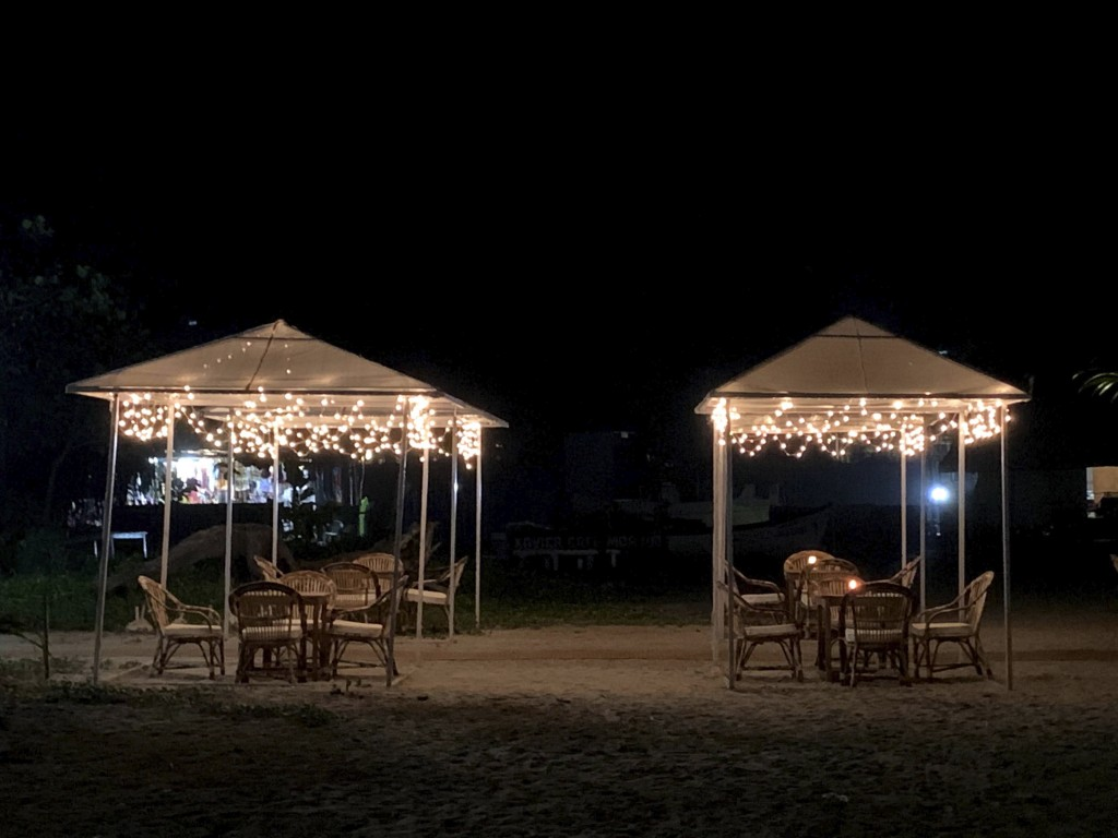 Empty shacks at the Morjim beach on the Arabian Sea coast at night in Goa, India, Dec.8, 2020. Along the popular beaches in North Goa from Candolim to...