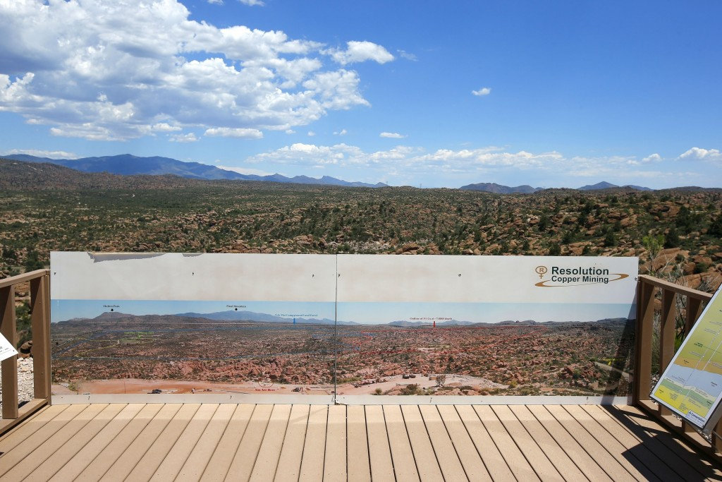 FILE - This June 15, 2015, file photo shows in the distance, part of the Resolution Copper Mining land-swap project in Superior, Ariz. A group of Apac...