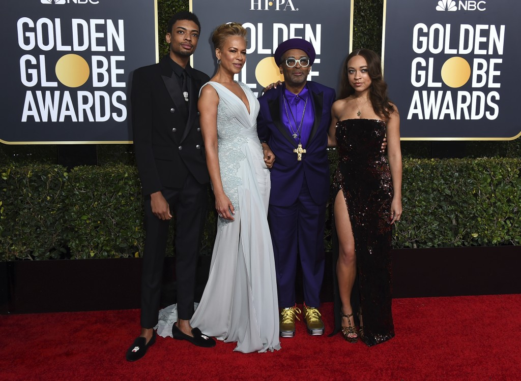 FILE - Director Spike Lee, second right, and his family, from left, son Jackson Lee, wife Tonya Lewis Lee and daughter Satchel Lee, right, arrive at t...