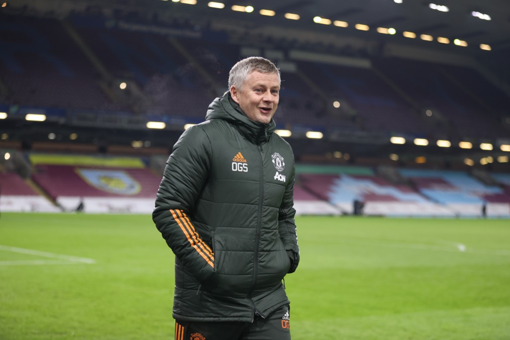 Manchester United's manager Ole Gunnar Solskjaer walks to the pitch prior to the English Premier League soccer match between Burnley and Manchester Un...