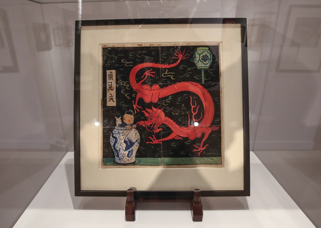 "The inked and water-painted original panel of the comic character Tintin from the 1936 ""The Blue Lotus"" album drawn by Belgian creator Herge, is displ..."