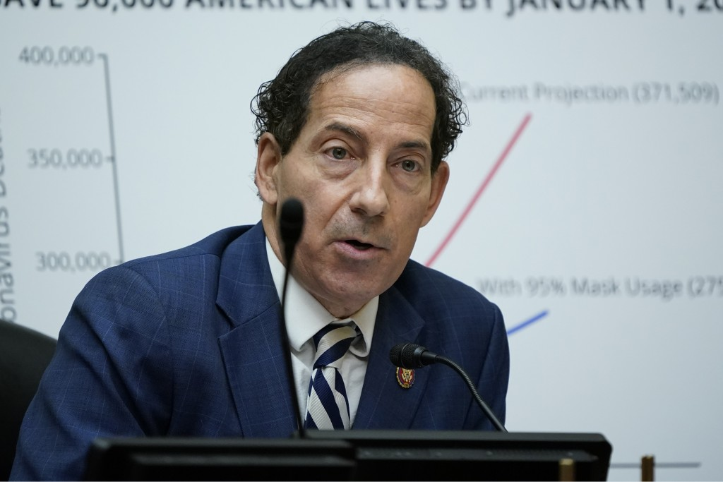 FILE - In this Oc. 2, 2020, file photo Rep. Jamie Raskin, D-Md., speaks as Secretary of Health and Human Services Alex Azar testifies to the House Sel...