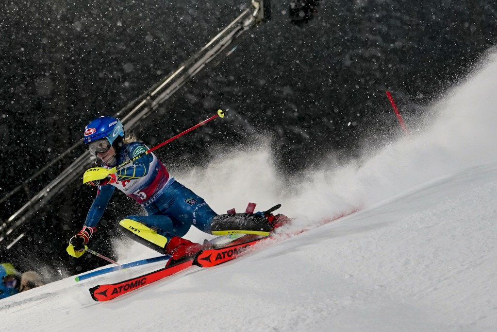 United States' Mikaela Shiffrin speeds down the course during an alpine ski, women's World Cup slalom in Flachau, Austria, Tuesday, Jan. 12, 2021. (AP...