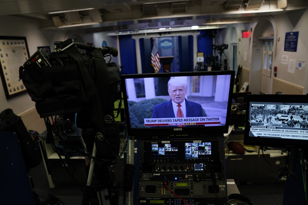 In a pre-recorded video message, President Donald Trump delivers a statement after rioters stormed the Capitol building during the electoral college c...