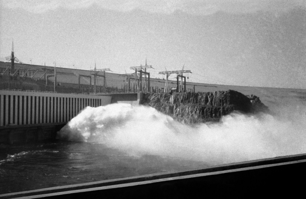 HOLD FILE - In this Jan. 15, 1971 file photo, water flows into the Aswan high dam after the inauguration ceremony in Aswan, Egypt.  Egyptians are mark...