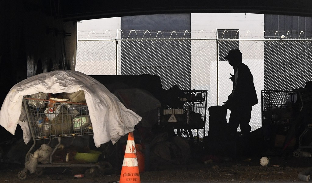 FILE - In this May 21, 2020 file photo, a man is seen at a homeless encampment that sits under Interstate 110 near Ramirez Street during the coronavir...