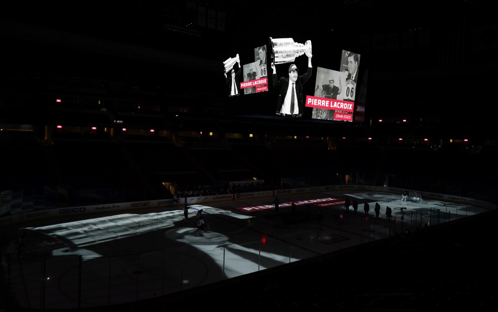 A video tribute is played overhead scoreboard to former Colorado Avalanche general manager and president Pierre Lacroix, before the Avalanche's NHL ho...