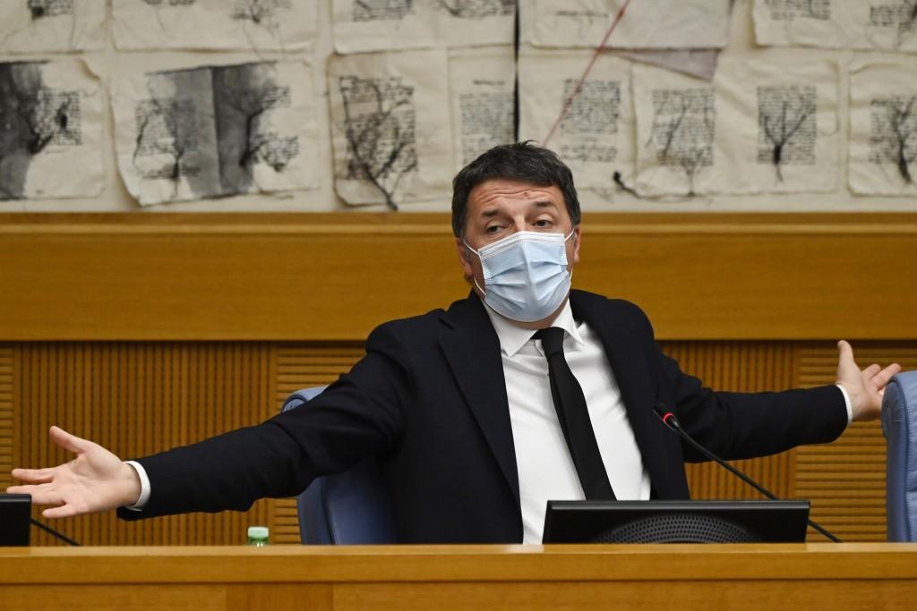 Italian Senator, former premier and head of the political party 'Italia Viva' (IV), Matteo Renzi holds a press conference at the Italian Chamber of De...