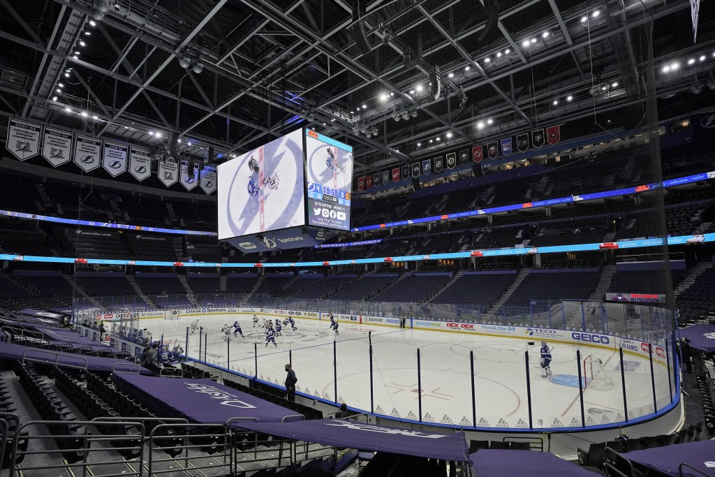 The Tampa Bay Lightning play the Chicago Blackhawks with no fans in attendance during the third period of an NHL hockey game Wednesday, Jan. 13, 2021,...