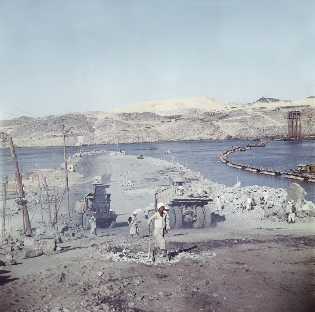 FILE - In this April 1964 file photo, a truck enters a tunnel during construction of the Aswan High Dam over the river Nile in Egypt. Egyptians are ma...