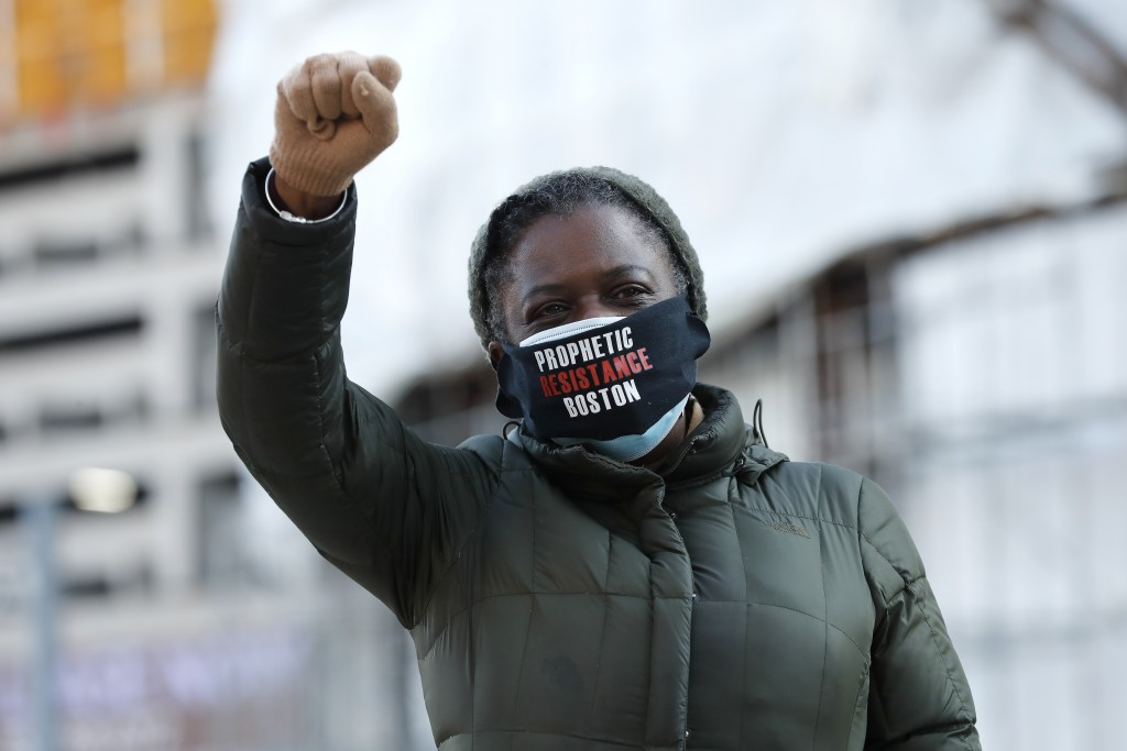 Tenants' rights advocate Danielle Willams demonstrates outside the Edward W. Brooke Courthouse, Wednesday, Jan. 13, 2021, in Boston. The protest was p...