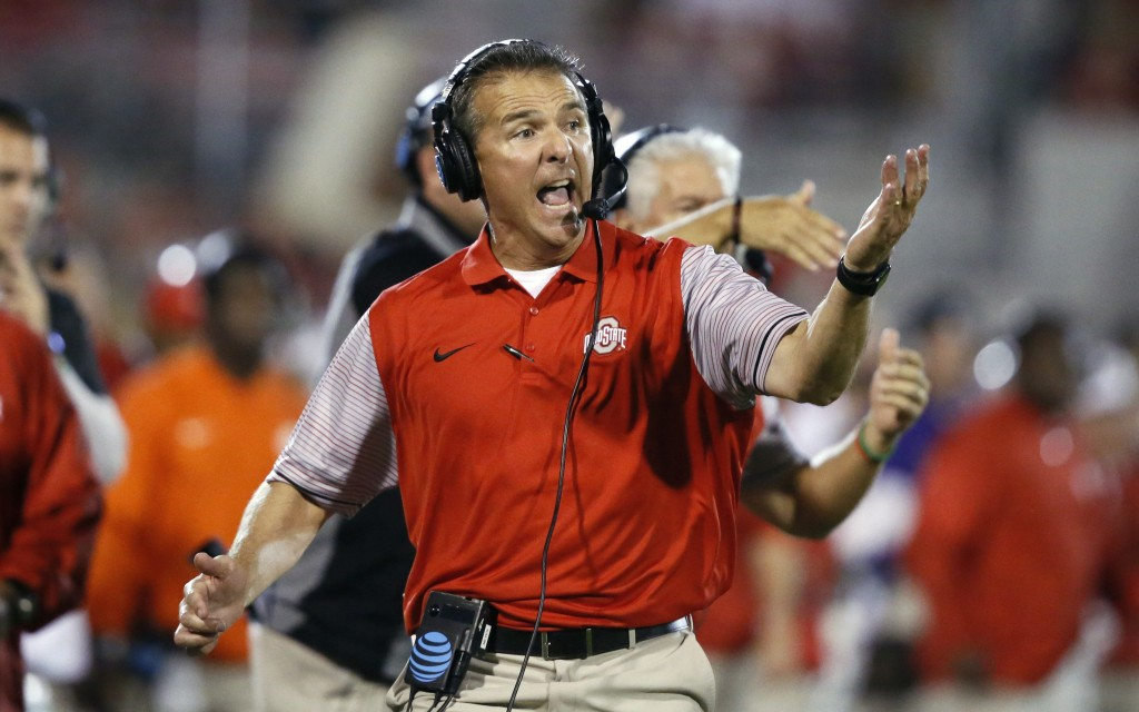 FILE - In this Sept. 17, 2016, file photo, Ohio State head coach Urban Meyer shouts from the sideline in the fourth quarter of an NCAA college footbal...