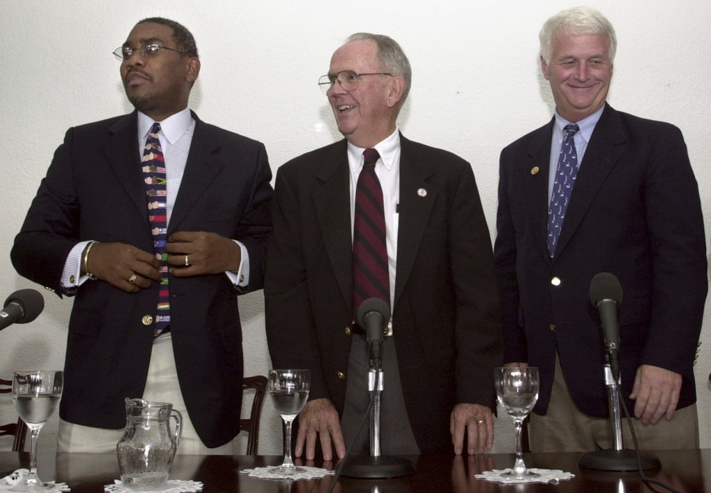 FILE - In this Oct. 23, 2003 file photo, U.S. Congressmen Gregory W. Meeks (D-NY), left, Cass Ballenger (D-NC), center, and William D. Delahunt (D-MA)...