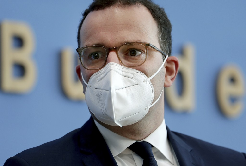 FILE - In this Tuesday, Nov. 3, 2020 file photo, German Health Minister Jens Spahn of the Christian Democratic Union, CDU, party, arrives for a press ...
