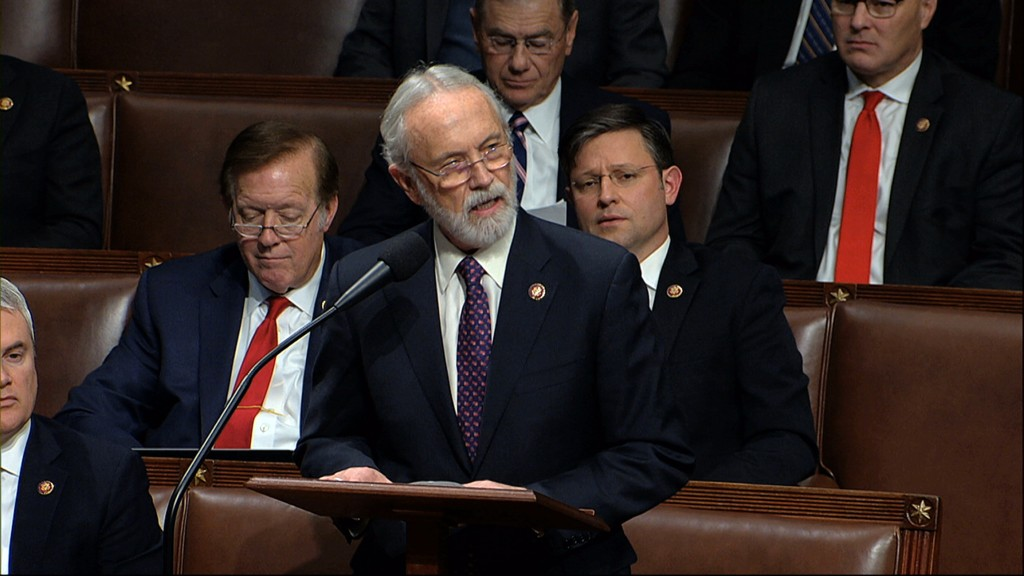 FILE - In this Dec. 18, 2019 file photo Rep. Dan Newhouse, R-Wash., speaks as the House of Representatives debates the articles of impeachment against...